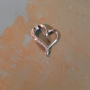 Heart necklace pendant w/o chain (10k white gold)